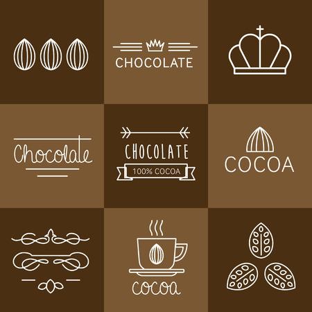 planta de frijol: Icono Cacao, signos e insignias de chocolate
