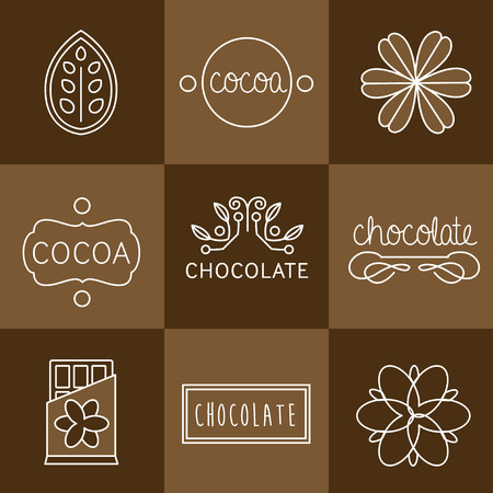 coffee beans background: Cocoa Icon, signs and badges chocolate Illustration