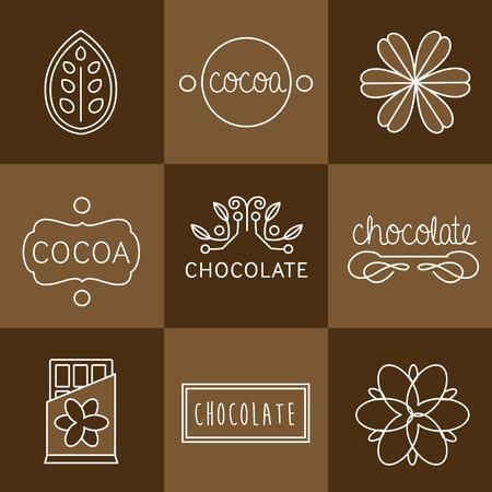 Icono Cacao, signos e insignias de chocolate Foto de archivo - 43215548