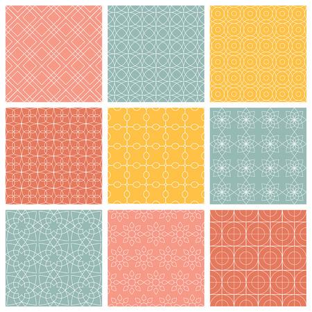 Patrones geométricos. Conjunto de vector sin fisuras fondos abstractos de la vendimia. Textura sin fin se puede utilizar para la impresión sobre tela y papel o chatarra de reserva Foto de archivo - 43215549