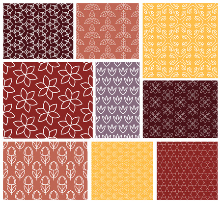 vintage paper: Geometric patterns. Set of vector seamless abstract vintage backgrounds. Endless texture can be used for printing onto fabric and paper or scrap booking