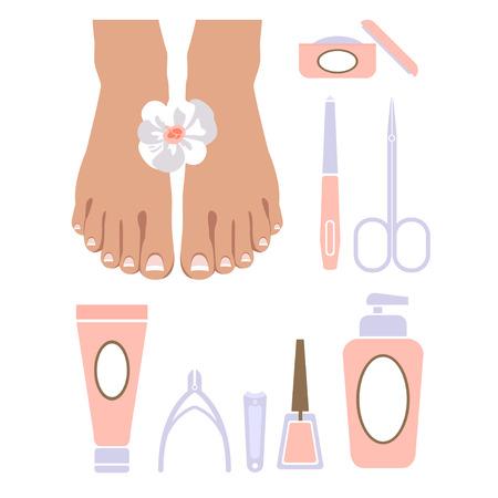 pedicure: Vector set of pedicure tools, feet, cosmetics, nail polish, and spa pedicure