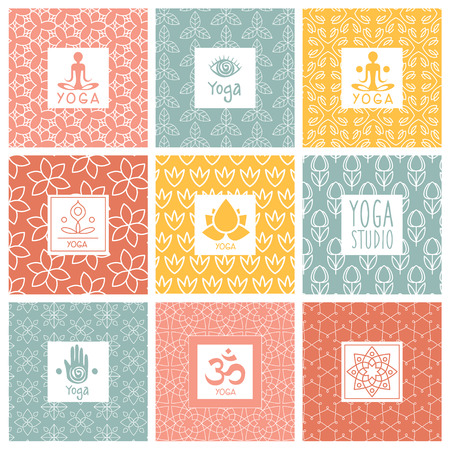Vector yoga icons and line badges, graphic design elements or templates for spa center or yoga studio