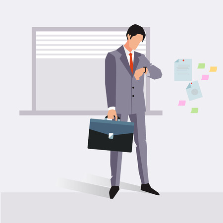appointment: Businessman late for an appointment vector illustration
