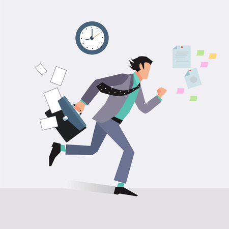 running businessman: Businessman late for an appointment vector illustration