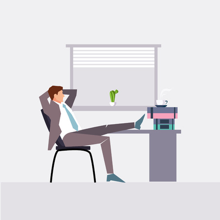 flat character: Vector modern flat character design on businessman at work illustration