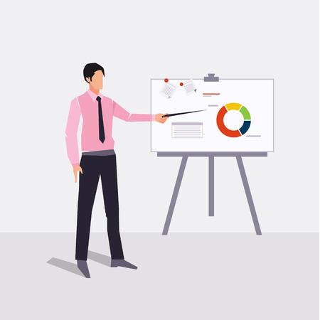 paperboard: businessman presenting on paperboard and handle money bag vector illustration