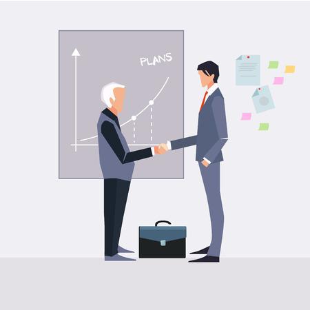 handshaking: Partnership. Illustration of two cartoon businessmen handshaking vector