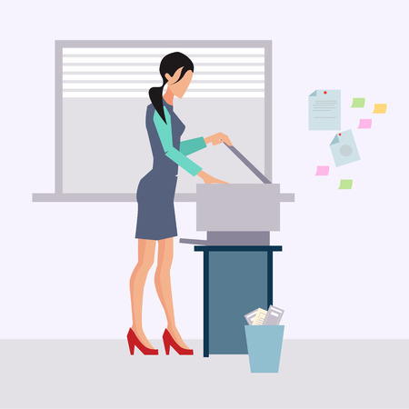 office cubicle: Woman working in office vector illustration flat style