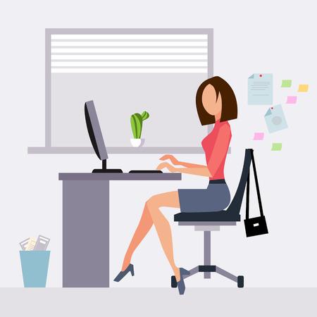 オフィス ベクトル図フラット スタイルで働く女性