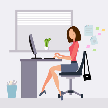 people laptop: Woman working in office vector illustration flat style