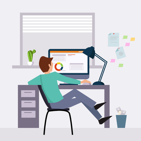 character design: Vector modern flat character design on businessman at work illustration