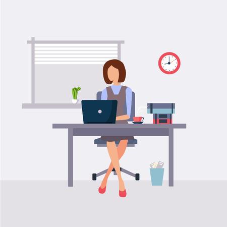 Donna che lavora nello stile piano dell'illustrazione di vettore dell'ufficio Archivio Fotografico - 43215706