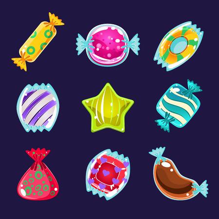 jeu: Ensemble de bonbons colorés brillants pour le jeu illustration vectorielle Illustration