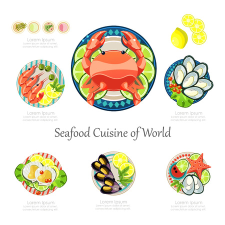 Seafood design set. Infographic food business seafood idea. Can be used for layout, advertising and web design. Seafood menu for restaurant Infographics