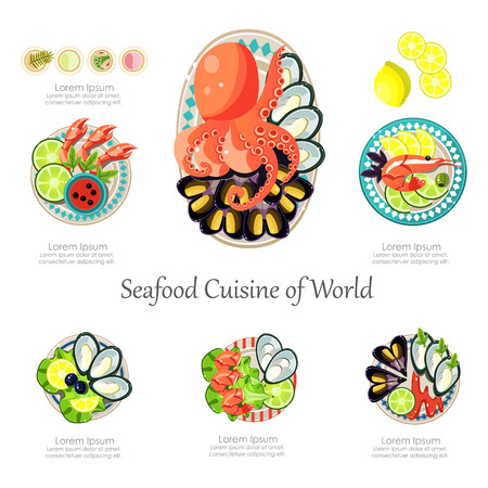 green crab: Seafood design set. Infographic food business seafood idea. Can be used for layout, advertising and web design. Seafood menu for restaurant Infographics