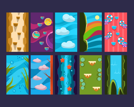 summer game: Game background Vector seamless set, Lendscape fairy Illustration
