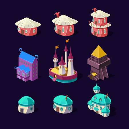 mushroom house: Cartoon element of the game. Magic castle, mushroom house, fairy houses