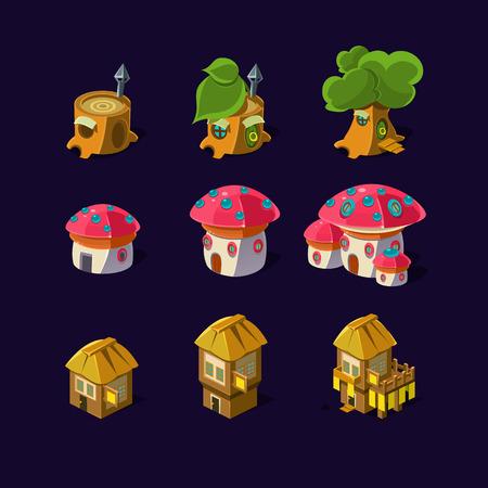 Cartoon element of the game. Magic castle, mushroom house, fairy houses