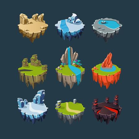 Isométrico 3d Islas lago montañas volcán cascada, Elementos para juegos Foto de archivo - 43573071