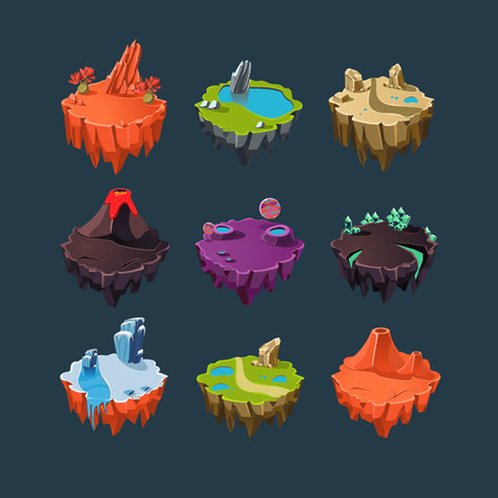 volcanos: Isometric 3d Islands mountains lake waterfall volcano, Elements for games
