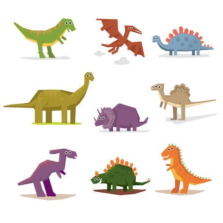 dinosauro: Dinosauri e periodo preistorico, illustrazione vettoriale stile piatto