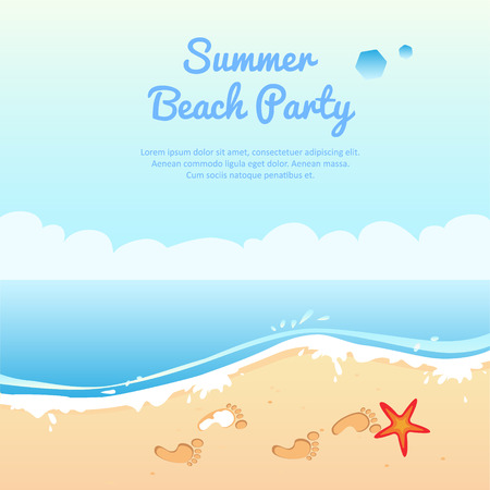 party animals: Summer beach party banner, vector illustration with place for your text