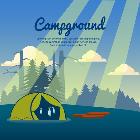 campground: Summer camp poster Vector illustration Campground, dawn in the forest Illustration