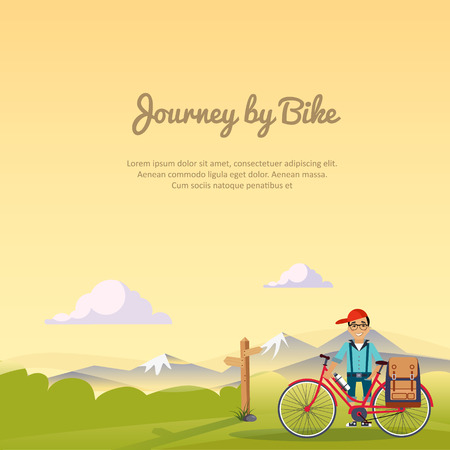 journey: Journey by bike, Travel Lifestyle Concept of Planning a Summer Vacation Tourism and Journey Symbol City Hipster with  Bike Mountain Forest Modern Flat Design Icon Template Vector Illustration