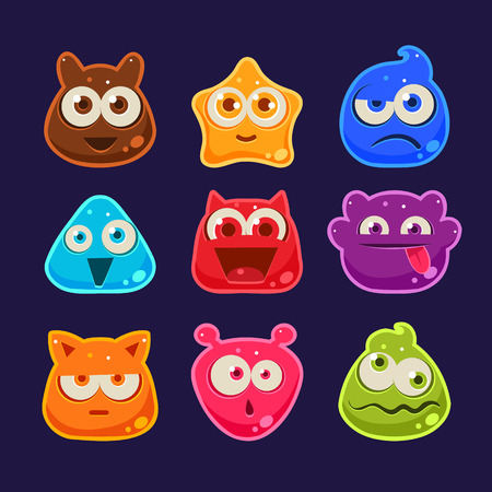 Cute jelly characters with different emotions and colors 向量圖像