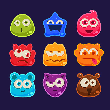 cartoon emotions: Cute jelly characters with different emotions and colors Illustration