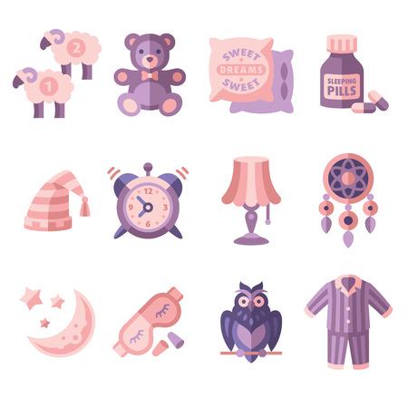 oso de peluche: Tiempo de sue�o Fije los iconos planos ilustraci�n vectorial aislado