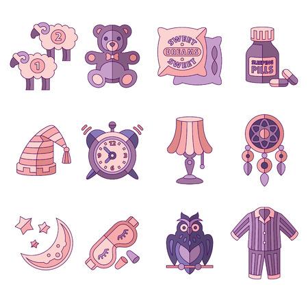 oso de peluche: Tiempo de sueño Fije los iconos planos ilustración vectorial aislado