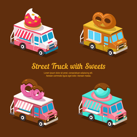 full color: Sweets Food Truck, sweet isometric vector illustration