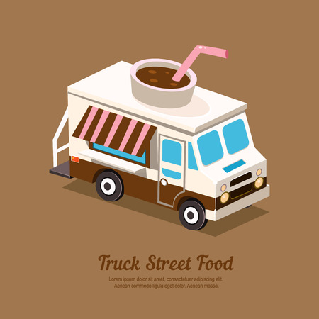 old truck: Truck coffee, flat style vector ullustration street food
