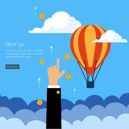 to button up: Business start press flat design infographics process concept template vector banner illustration