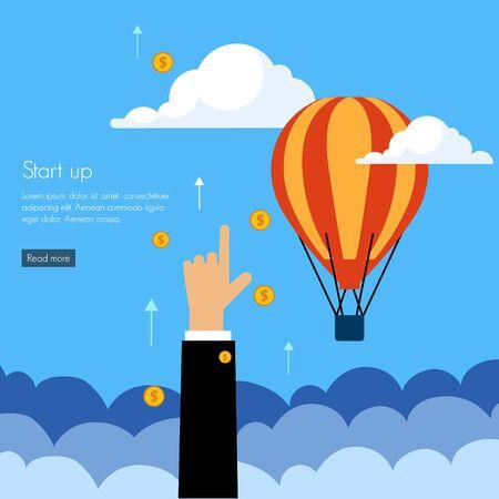 Business start press flat design infographics process concept template vector banner illustration