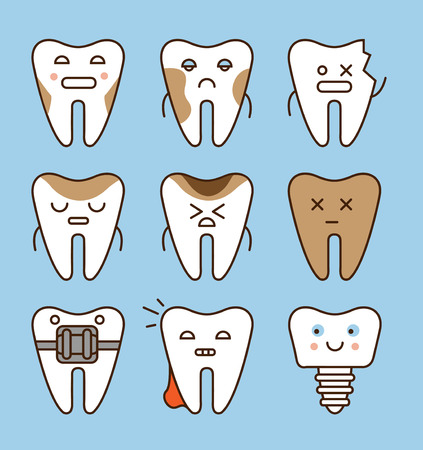 Tooth icons set, dental collection vector illustration Illustration