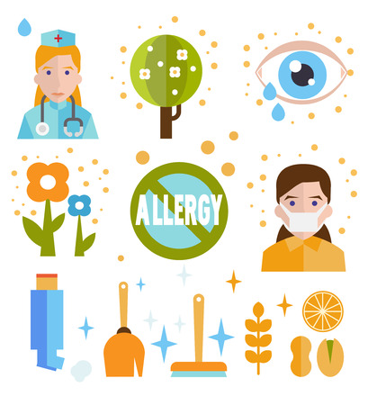 rhinitis: Allergy icon flat set isolated vector illustration Illustration