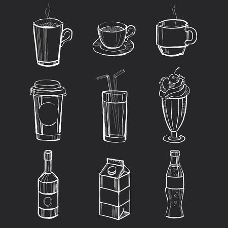 黒板に描かれた別の手飲料。ベクトル イラスト セット  イラスト・ベクター素材