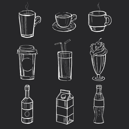 Different hand drawn beverages on the blackboard. Vector illustration set