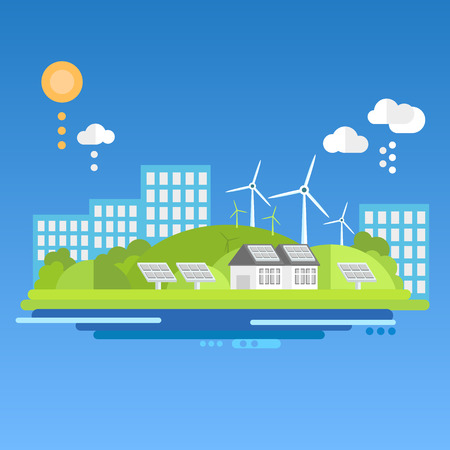 wind power: Flat design concepts for ecology. Vector illustration. Ecology landscape windmills