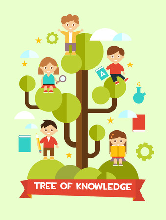 Creative education concept flat design with tree of knowledge and children Illustration