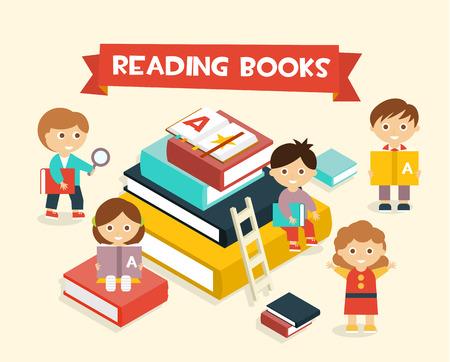 estudiando: Ilustración con la lectura de los niños Libros estilo plano Vectores