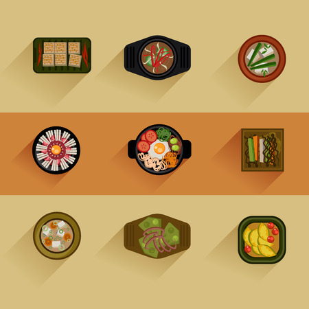 top menu: Food Illustration Korean food Vector icon set