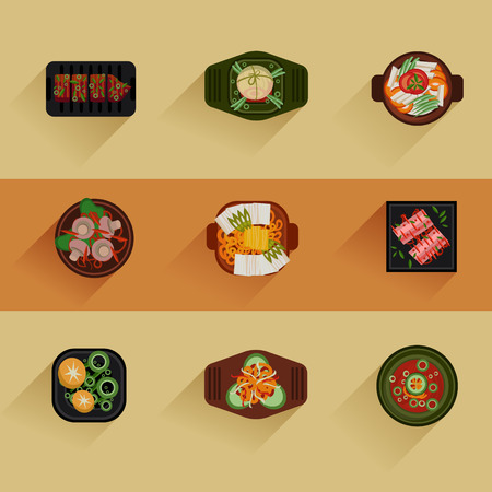 Food Illustration Korean food Vector icon set