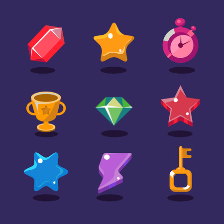 Game resources and elements icons set vector illustration