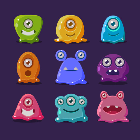 alien face: Cute cartoon jelly monsters, vector set mame elements Illustration