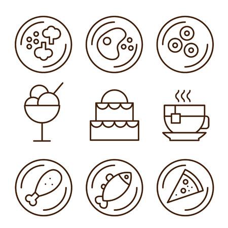 facture restaurant: Ic�nes de restaurant S�rie illustration style simple