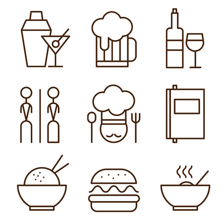 writing chair: Restaurant icons set vector illustration simple style